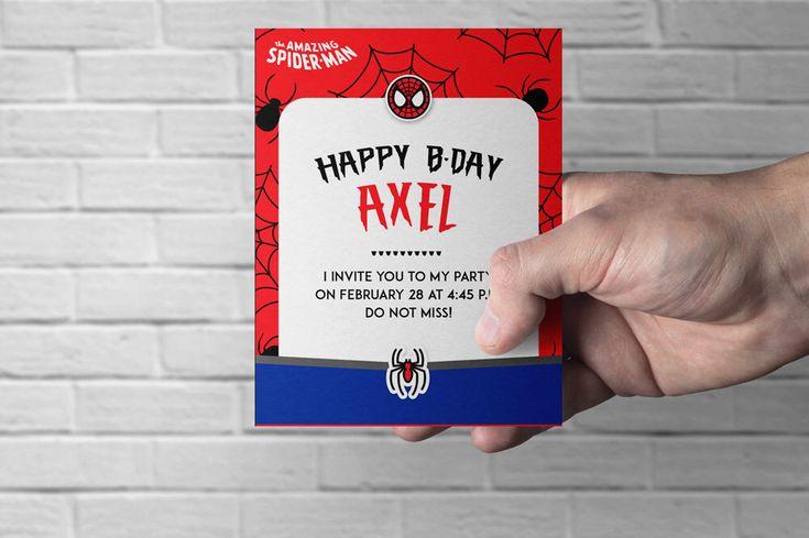 Quiero compartir lo último que he añadido a mi tienda de #etsy: Spiderman printable invitation, perfect for children's parties. #papeleria #rojo #azul #downloadabletemplate #felicitacion #printable #tarjeta #red #celebration #spiderman #superhero