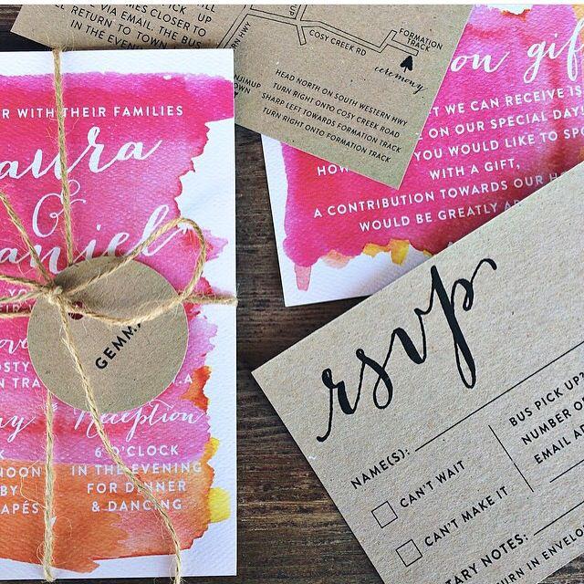 Bright pink orange watercolor watercolour kraft wedding invitations RSVP response card design Australia handmade custom detail modern unique handwritten font