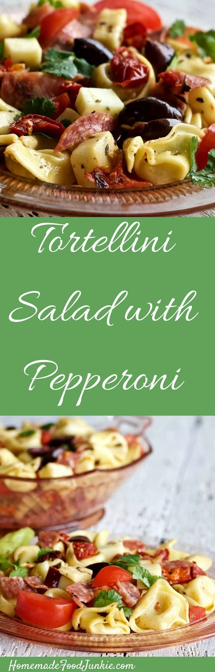 Tortellini salad with pepperoni makes a delicious meal. Full of Italian flavor. This recipe is Food Safe for an outdoor party table. Great grill side or stand alone light meal. Put it in a cooler and take it camping or to a picnic.