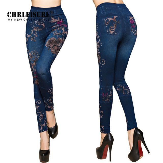 Hot Deals $5.49, Buy CHRLEISURE Women Jeans Leggings Autumn Flowers Printed Slim Cotton Woman Jeggings Ladies Fake Jeans Trousers Leggings Legency
