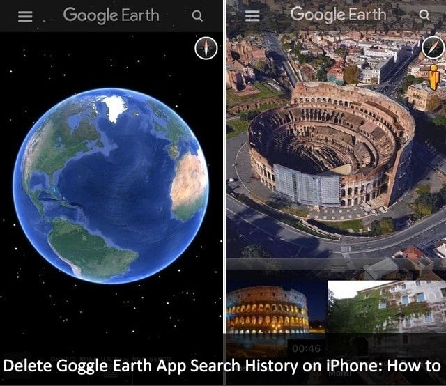 This post will guide you how to clear or Delete Goggle Earth App search history on iPhone 6S Plus, iPhone 6S, iPad Air, iPad Mini and running iOS 9 device.