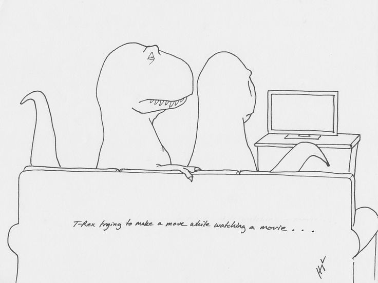 T-Rex Trying To Make A Move While Watching a Movie… Happy Friday everyone!  Hope you all get a chance to check out our new book this weekend: http://www.amazon.com/T-Rex-Trying-Unfortunate-Trials-Prehistoric/dp/0142181706/ref=pd_sim_b_1?ie=UTF8&refRID=11BWNT14F6ZQKBFHH40J