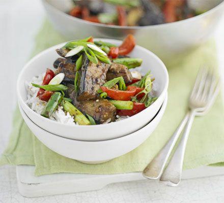 Aubergine & black bean stir-fry #Tastebudladies  #Eggplant #Aubergine