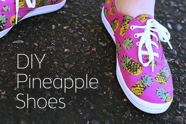 Dress up your plain sneakers with a fun #pineapple print! Click to watch the tutorial! #hgtvhandmade #diy #pattern #summer #shoes