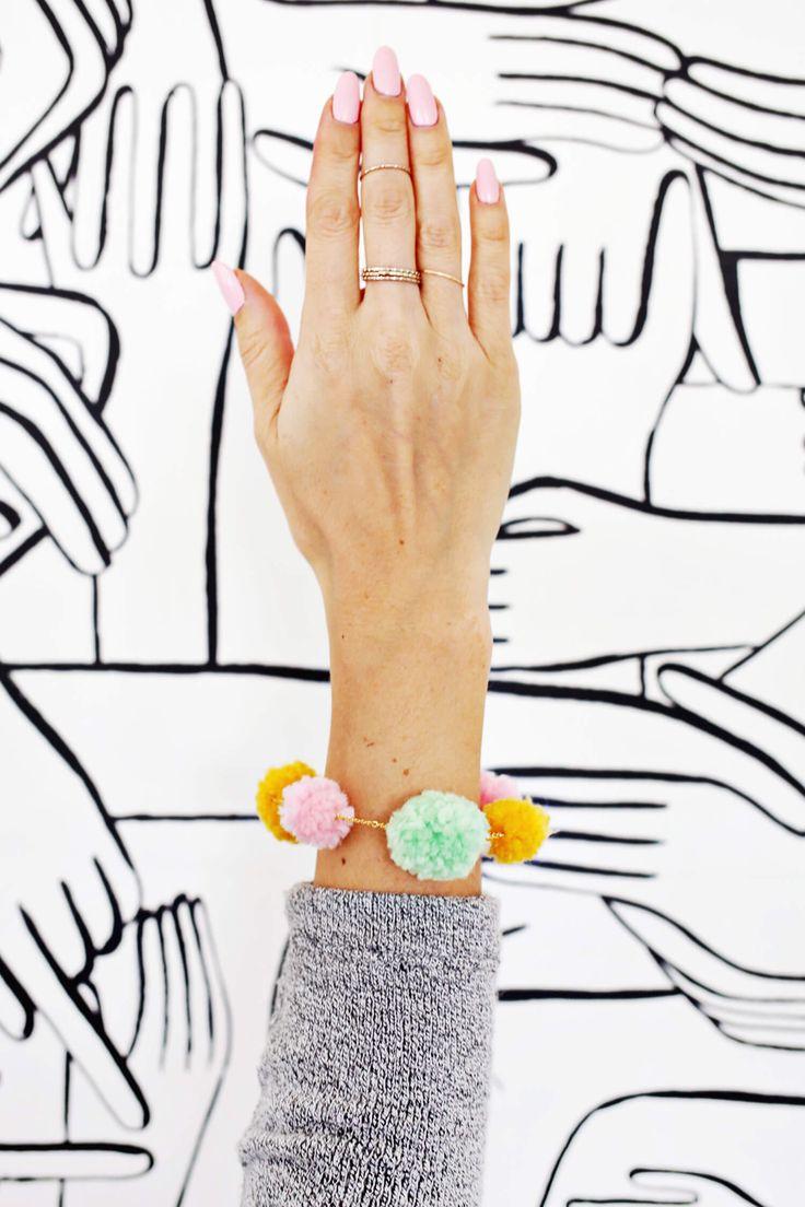 Pom-Pom Bracelet DIY | A Beautiful Mess | Bloglovin'