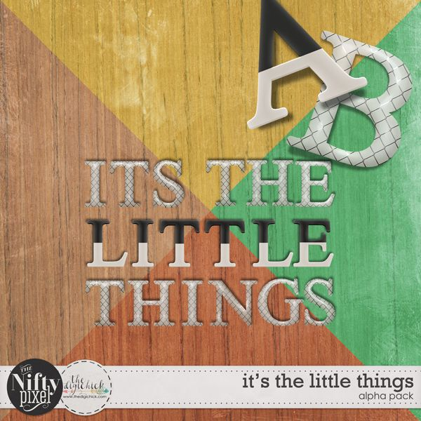 IT'S THE LITTLE THINGS | Alpha This pack of alphas includes 2 sets giving you choice and fun combinations. This great typeface is perfect for creating bold and grounded title work. Becasue these alphas are so versatile they will be suitable for any style or themed page.   DOWNLOAD INCLUDES:  2X Alpha Sets: 1X two toned set + 1X flair style with a grid pattern. Both sets include UPPERCASE ONLY [A-Z + some punctuation] All products are saved at 300ppi for optimum printing quality.