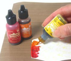 masking fluid on polymer clay with alcohol ink
