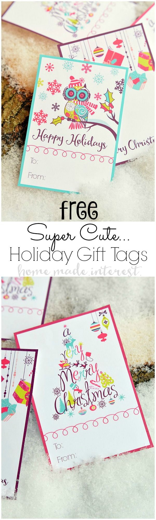 These free printable Christmas gift tags are a simple way to add a little color to your gift wrapping. #ad #GraphicStockHolidayChallenge