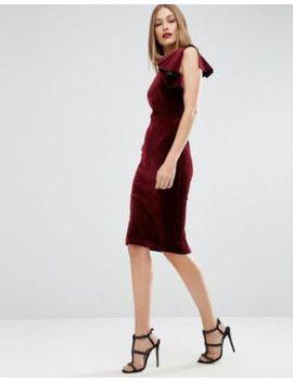 asos-premium-velvet-one-shoulder-ruffle-midi-dress by asos-collection. #dress #fashion #trends #onlineshopping #shoptagr