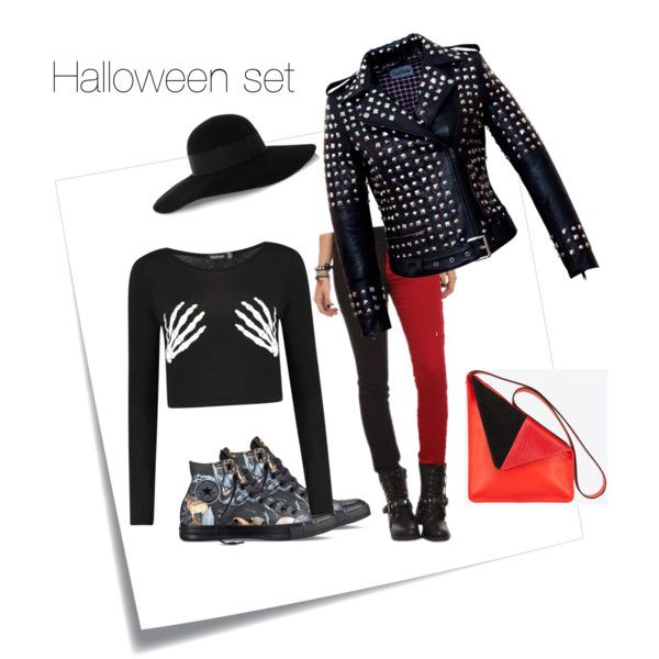 Halloween set by marievel on Polyvore featuring polyvore, moda, style, Tripp, Converse, Eugenia Kim and Post-It