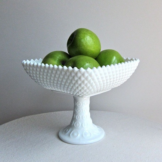 milk glass fruit centerpiece!