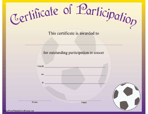 64 best certificates images on pinterest free printables 60th this certificate of achievement is awarded to someone showing outstanding achievement in the sport of soccer yadclub Gallery