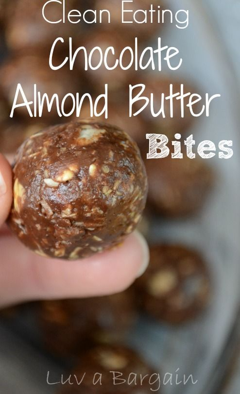 Clean Eating Chocolate Almond Butter Bites. So great to satisfy your cravings in a healthy way! LuvaBargain.com