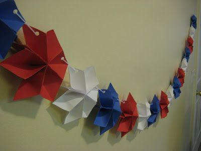 Today we will be making a Patriotic Star banner. You will need: red, white & blue craft paper white yarn hot glue hole punch stapler