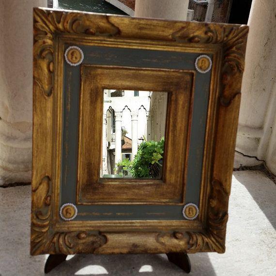 Ciotola di vetro di Murano Specchio con cornice in legno