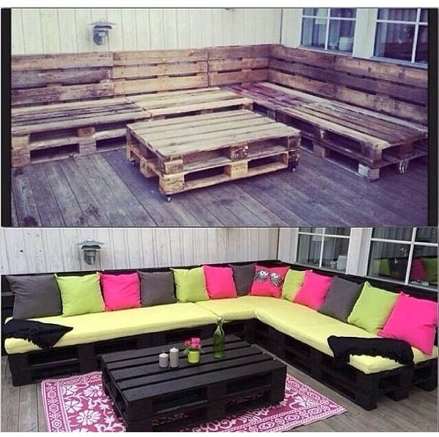 Crate bench!!! What a great, inexpensive idea! I'm going to need to stretch my imagination and construction skills.