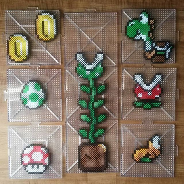 Super Mario stuff perler beads by  tarawashere88