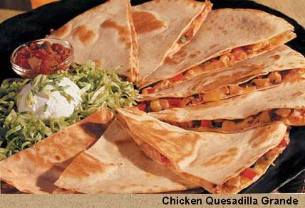 EASY WAY TO MAKE QUESADILLAS:  butter tortillas on one side.  Place buttered side down on aluminum foil.  Layer cheese, meat, veggies, cheese, and other tortilla, butter side up.  Seal foil to form pouch.  Place in George Foreman for 8 min.  Golden crunchy, no cleanup!!  Google Image Result for http://1.bp.blogspot.com/-4Uw3wOAYvvI/TiiAbimYBII/AAAAAAAAI9Y/8Ct2M6a-Gnw/s1600/chicken-quesadilla.jpg