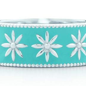 Tiffany & Co. Sterling Silver & Enamel Bangle Bracelet