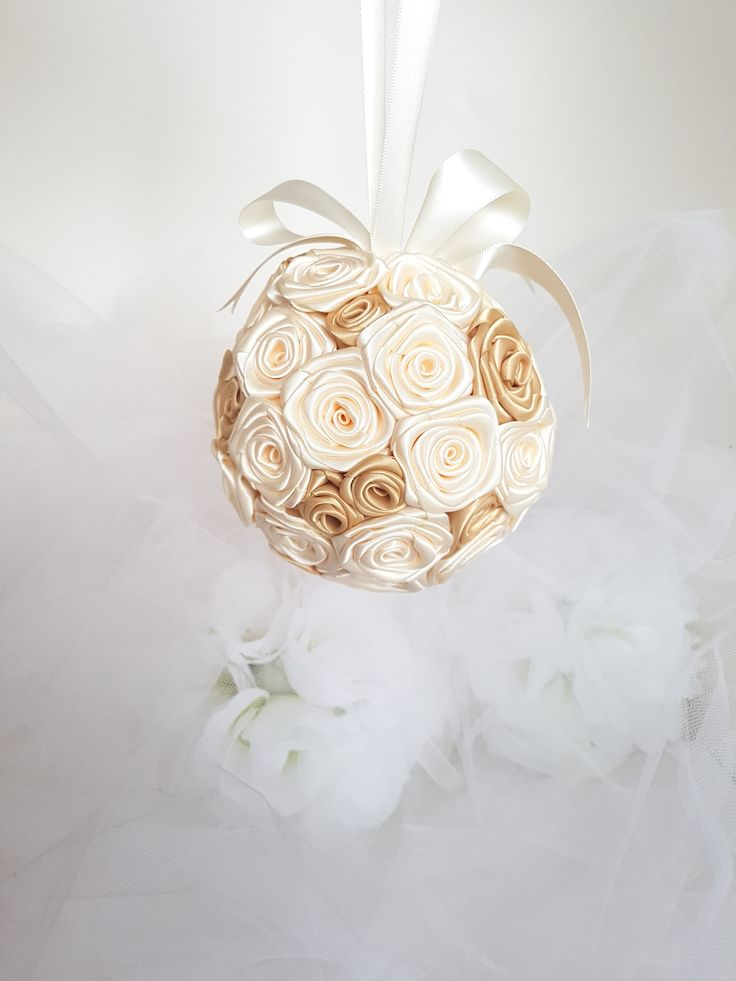 """Sweetheart Roses Flower Girl Pomander Bouquet. Cream and Gold Satin Ribbon Roses. Satin ribbon handle carried by hand or over the wrist. 5"""" bouquet"""