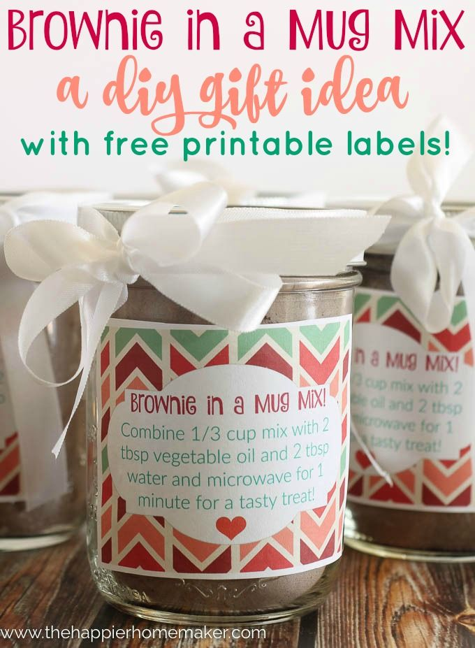 Brownie in a Mug Recipe Plus you can make a batch of the Mix and give it as a DIY Gift! Great Idea for Christmas! (she has free printable labels!)