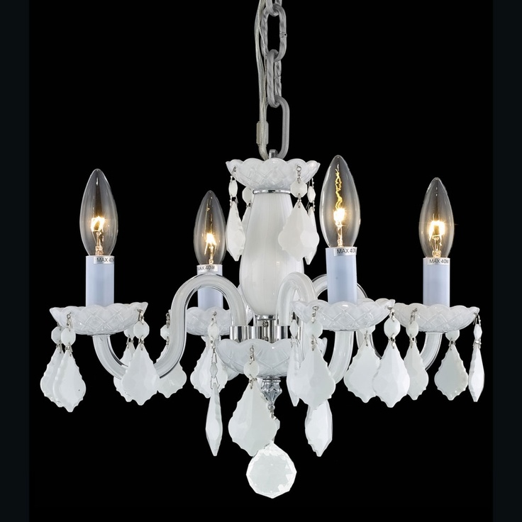White Finish Hanging Chandelier.: 4 Lights, Lights Chand, Trav'Lin Lights, Crystals Chandeliers, Elegant Lights, White Crystals, White Chandeliers, Lights 7804D15Whwhrc, Lights Rococo