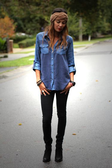 Denim button up shirt black skinny jeans black ankle Black shirt blue jeans