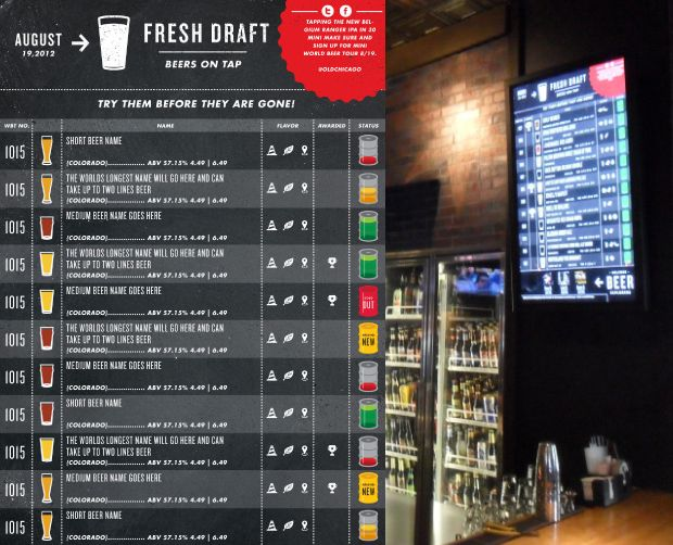 Old Chicago ReBrand  Digital Beer Menu  Menus  Boards