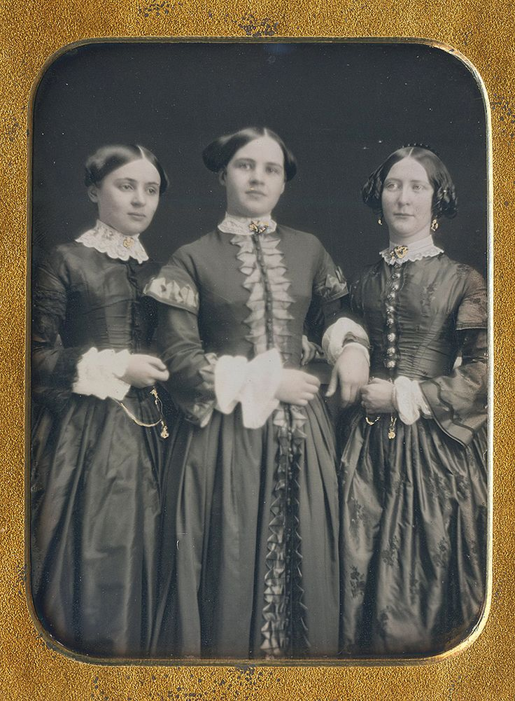 "daguerreotypeimages: ""Ladies leaning on a rail, daguerreotype circa 1850 (via Dennis A. Waters Fine Daguerreotypes) """