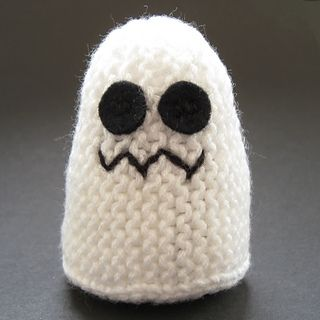 "Knit your own cuddly ghosts only 3"" tall. This little spook could be a (not really) scary toy or you could knit several for Halloween party favors or decorations."
