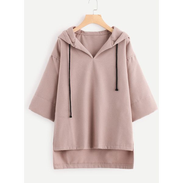 Varsity Striped Raglan Sleeve Raw Cut Hoodie ($15) ❤ liked on Polyvore featuring tops, hoodies, hooded pullover, raglan top, raglan sleeve hoodie, hooded sweatshirt and hoodie top