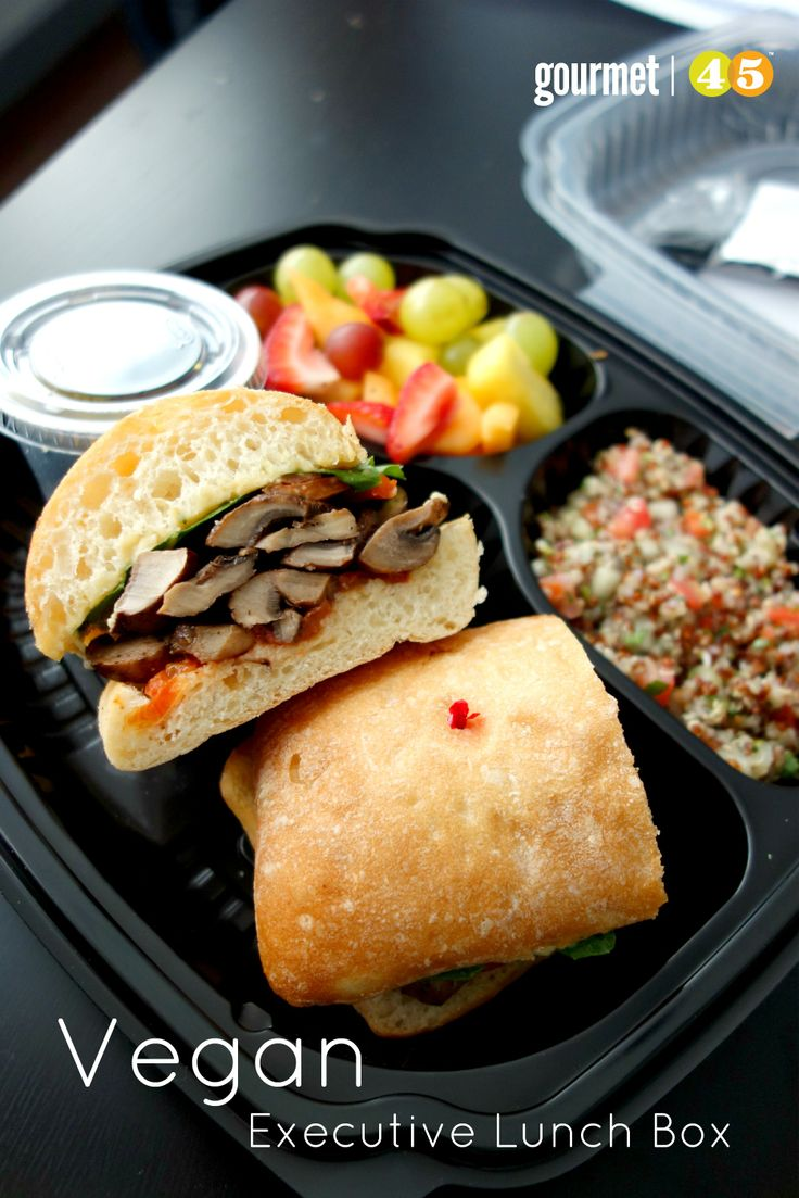 Vegan Executive Lunch Box! #vegan #healthy #quinoa #fruit #mushrooms #hummus