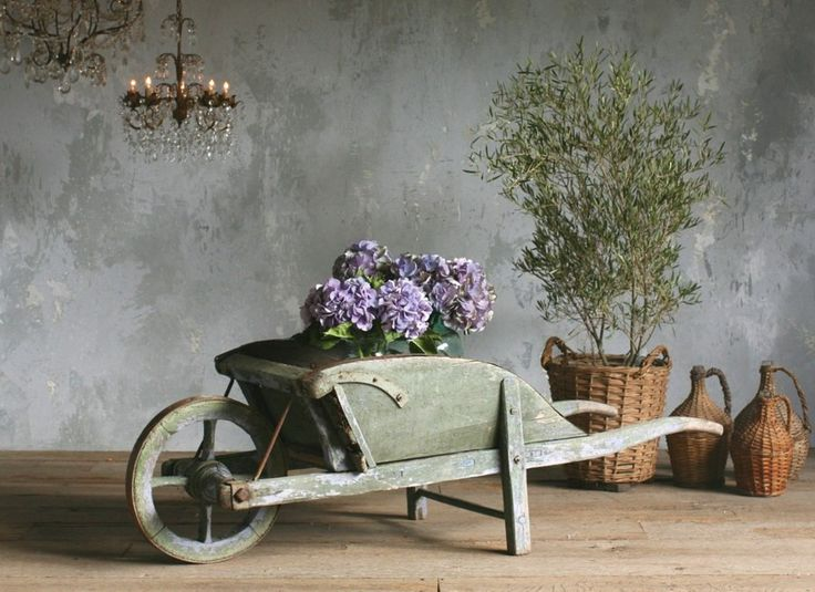 Vintage Shabby French Patina Green Wheelbarrow ...would love to have this!