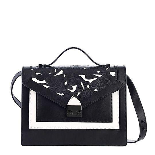 Loeffler Randall Rider Bag in Black/White tooled vachetta leather $550