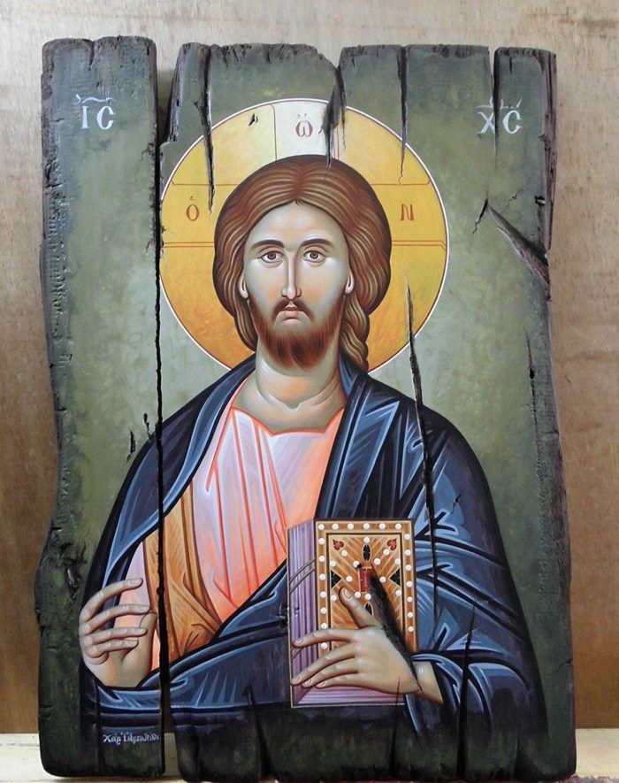 Ιησούς Χριστός σε αναπαλαιωμένο ξύλο από παλιά πόρτα.