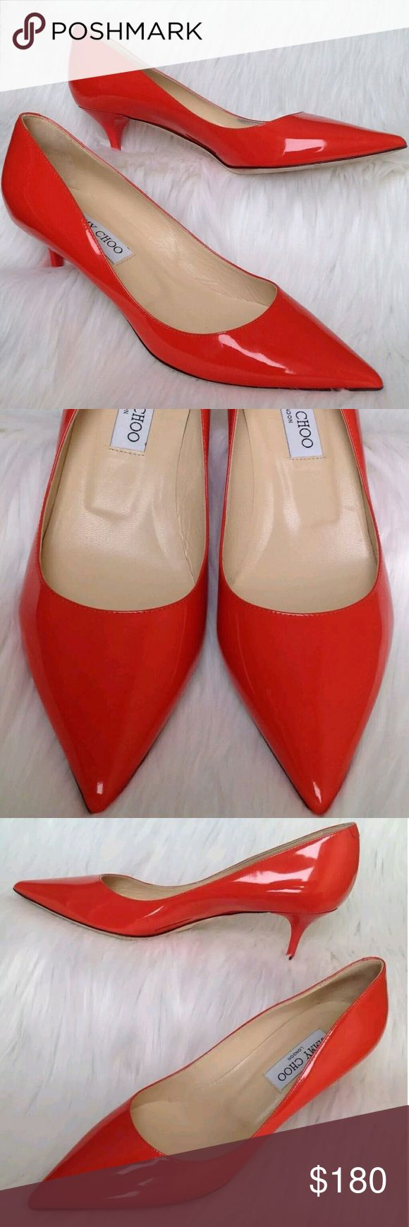 Jimmy Choo Aza Low Pointed Kitten Heel Orange Pump Item Specifics    Brand: Jimmy Choo   Size: Womens 38.5   Model:  Aza Low Pointed Kitten Heel Patent Leather Pump   Color: Tangerine Orange   This pre-owned item is in great condition doesn't come with box or dustbag. There are no odors, stains; however, there is a slight scuff mark on the back of the left shoe (refer to 7th photo) and on the inner side of right shoe (refer to 8th photo). We are a non-smoking and a pet free home.    100%…