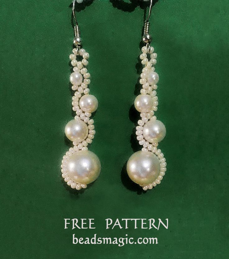 Free pattern for earrings White Moon | Beads Magic
