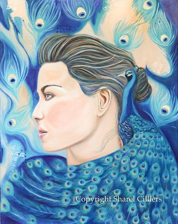 Original artwork women and peacock wall art oil by SharelCilliers