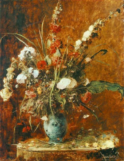 Great Flower Still Life, 1881, Mihaly Munkacsy. Hungarian Realist Painter (1844-1900)