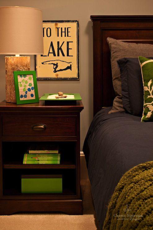 Suzie: Corea Sotropa Interior Design - Cabin style boy's bedroom with warm gray paint color, ...