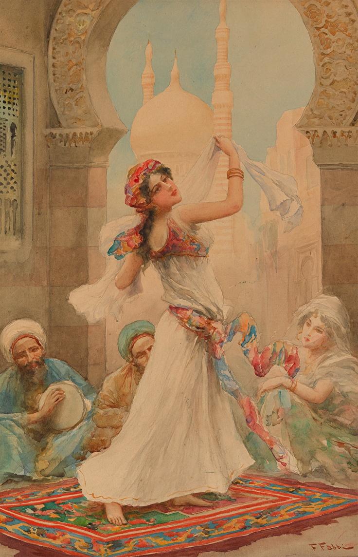 """Eastern Dancer""- Fabio Fabbi, watercolor, 19th cent."