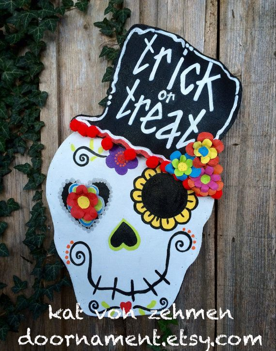 Screen Wire Funky and Bright Halloween Day of the Dead Sugar Skull with Trick or Treat Top Hat Door Hanger Wreath, Halloween Wreath