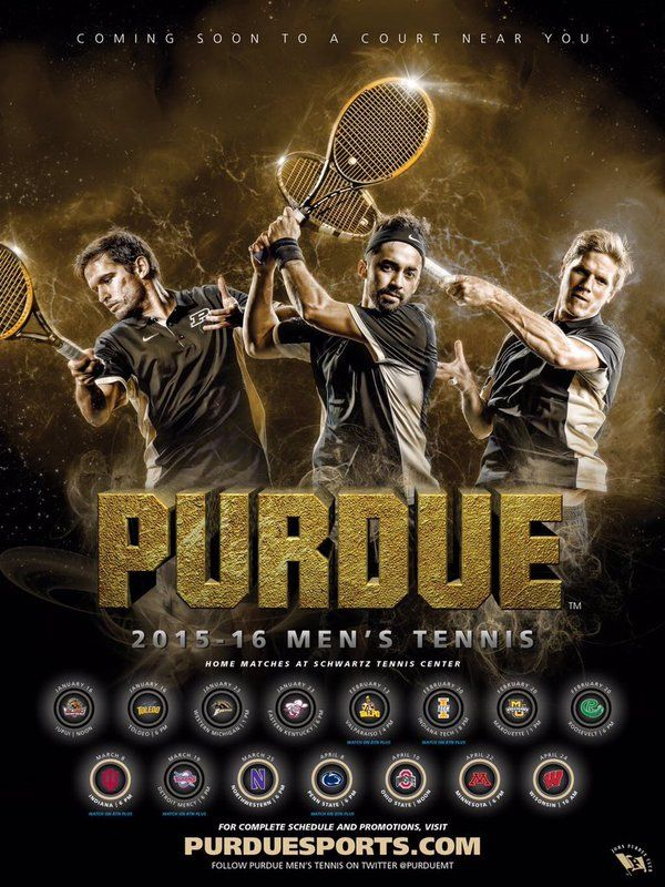 2016 Purdue Men's Tennis Schedule Poster