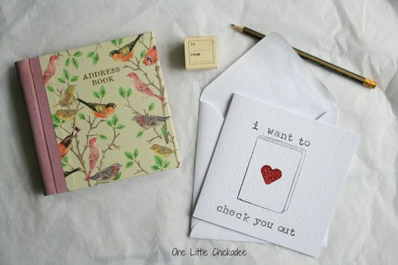 Handmade Greeting Card, I want to check out you, book lovers card £2.50