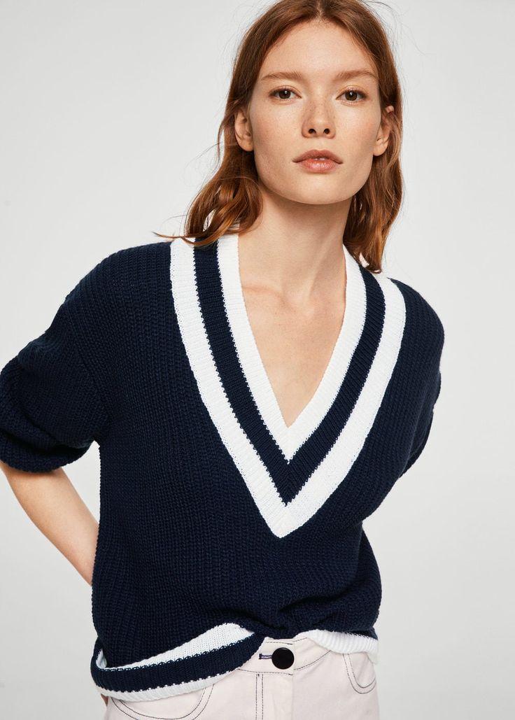 Constrating v-neck sweater -  Woman   MANGO United Kingdom