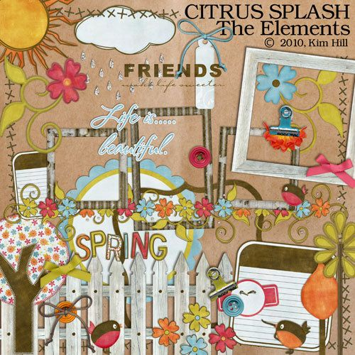 "Digital Scrapbook Elements - ""Citrus Splash"" digital scrapbook embellishments in orange, red, green and brown for spring scrapbook layouts"