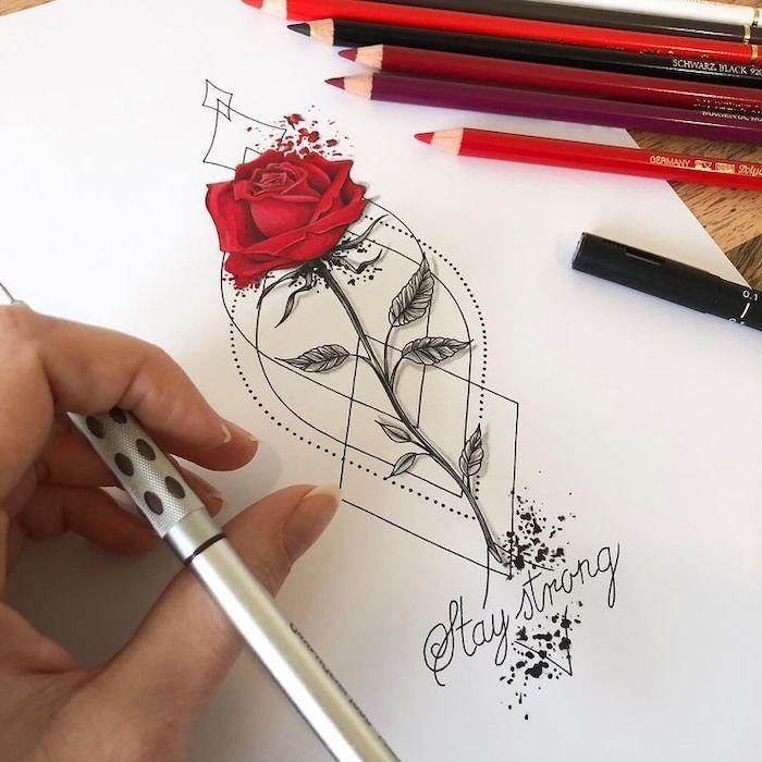 rote Rose, bleib stark, auf weißem Hintergrund, Bilder von Blumen zu zeichnen, Hand ho …   – Tattoos