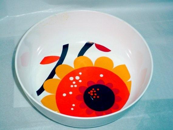 Vintage ROSTI Dinnerware Large Serving Bowl Danish Modern Sunflower Design