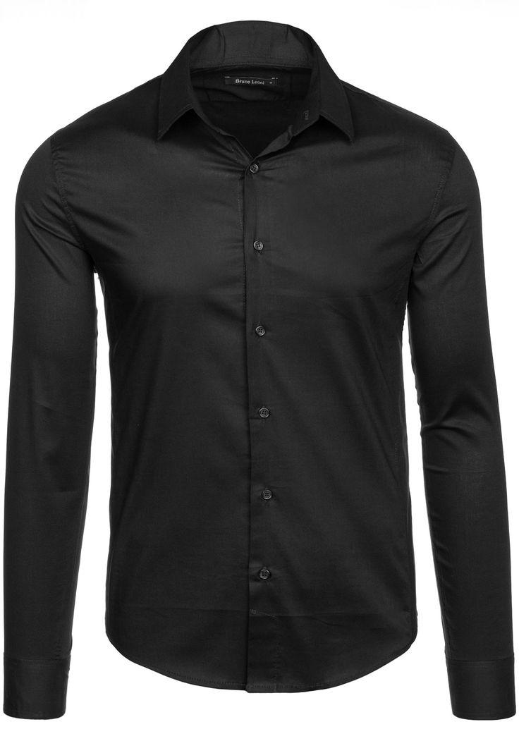Koszula męska BRUNO LEONI 143 czarna | Odzież męska \ Koszule męskie \ Koszule długi rękaw Odzież męska \ Koszule męskie \ Gładkie Elegant | Denley - Odzieżowy Sklep internetowy | Odzież | Ubrania | Płaszcze | Kurtki