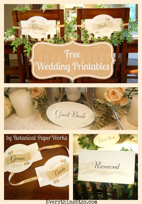 Free Wedding Printables for your handmade wedding - By Botanical PaperWorks for EverythingEtsy.com